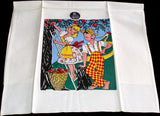 Apple Picking Couple Vintage Tea Towel, Unused