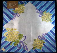 February Flower of the Month Vintage Linen Handkerchief, Kimball