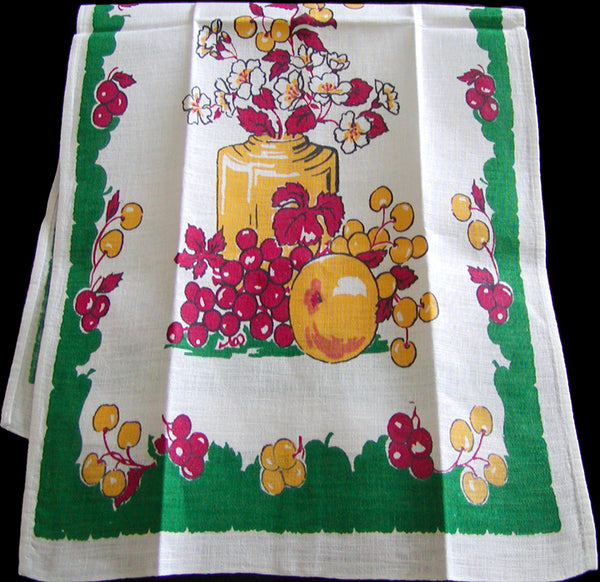 Fruit & Floral Vintage Startex Kitchen Towel, Green