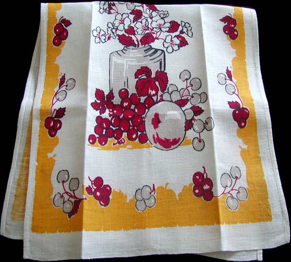 Fruit & Floral Vintage Startex Kitchen Towel, Yellow