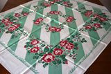 Fiatelle Jadeite Stripes Red Roses Vintage Tablecloth 44x50