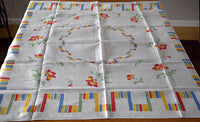 Fiesta Stripes & Poppies Vintage Tablecloth, Linen 51x50
