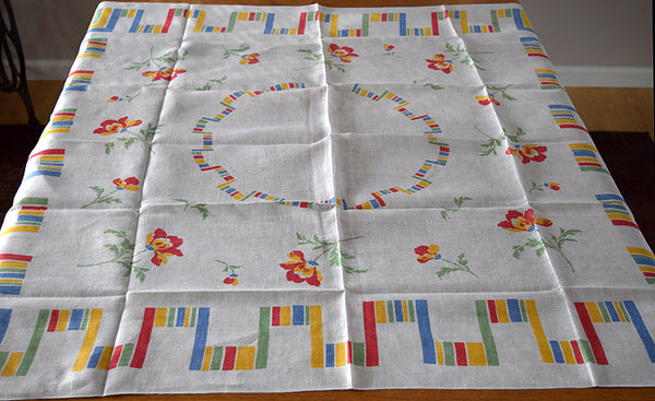 Fiesta Stripes & Poppies on Linen Vintage Tablecloth 51x50