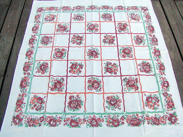 Jadeite Red Orange Floral Checker Linen Vintage Tablecloth 46x52