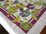 Bold Trailing Floral Border Print Vintage Tablecloth, 53x64