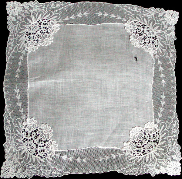 Applique Floral Lace Border Vintage White Wedding Handkerchief