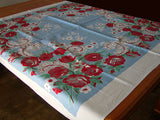 Red Flowers & Feather Scrolls Vintage Tablecloth 49x51