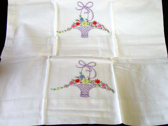 PR Colorful Flower Baskets Embroidered Vintage Pillowcases