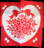 Secret Valentine Heart w Blooming Basket Vintage Handkerchief