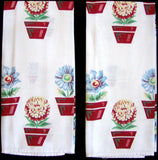 Red Flower Pots Vintage Kitchen Dish Towels, Pair