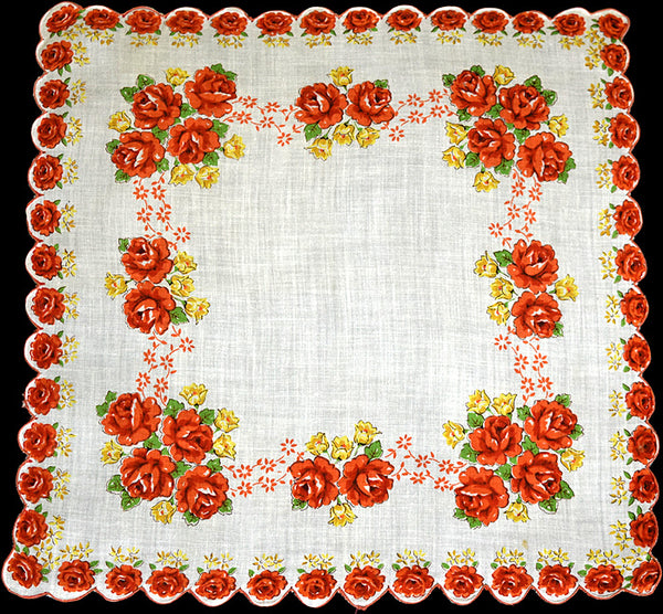 Orange Roses Scalloped Border Vintage Handkerchief