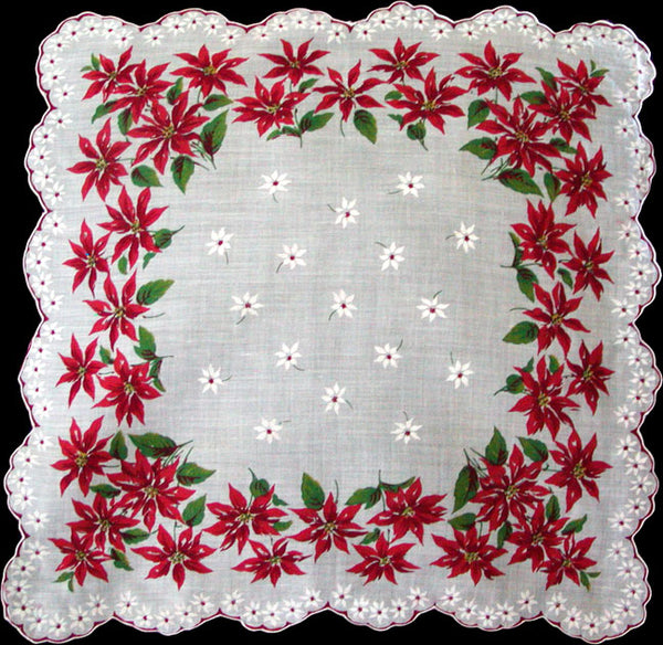 Poinsettia Scalloped Border Vintage Christmas Handkerchief