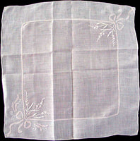 Tussie Mussies in Pink and White Vintage Linen Handkerchief