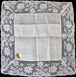 French Lace and Irish Linen Vintage Wedding Handkerchief