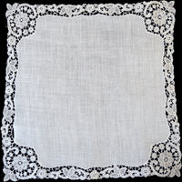 Schiffli Lace and Linen Vintage Wedding Handkerchief