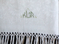 Antique Damask Linen Guest Towel w Hand Knotted Fringe, Monogram KLAR