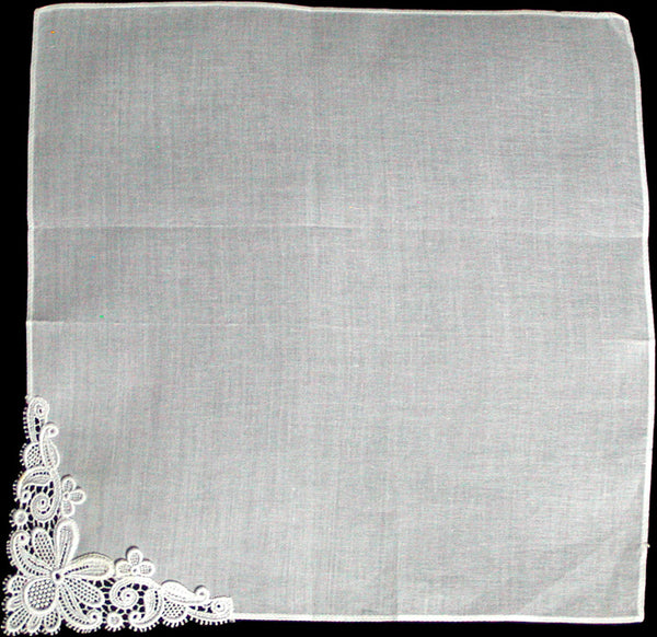 Fancy Floral Applique White Lace Corner Vintage Handkerchief