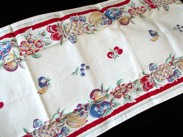 Fruit Harvest Border Print Vintage Kitchen Tea Towel 17x36