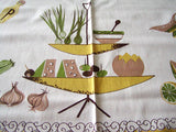 Fruit and Salad Vintage Tablecloth 50x50 - Unused