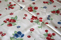 Apples Cherries Plums Strawberries Vintage Tablecloth 47x62