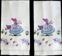 Garden Girl Embroidered Vintage Linen Guest Towels, Pair