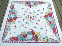 WWII Victory Garden Vegetables Vintage Tablecloth 47x52