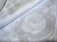 Art Deco Vintage Damask Linen Tablecloth & Napkin Set