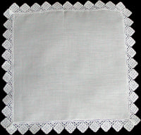 Geometric Lace Trim Vintage White Wedding Handkerchief