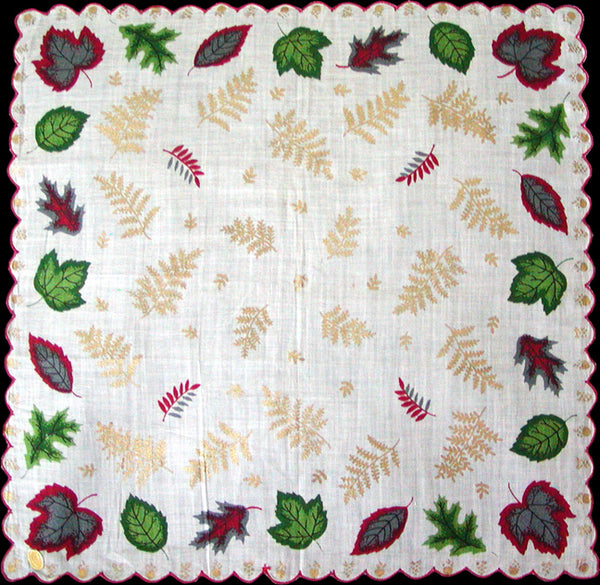 Falling Leaves and Gilded Ferns Vintage Handkerchief