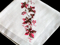 Grapevine Embroidered Vintage Handkerchief