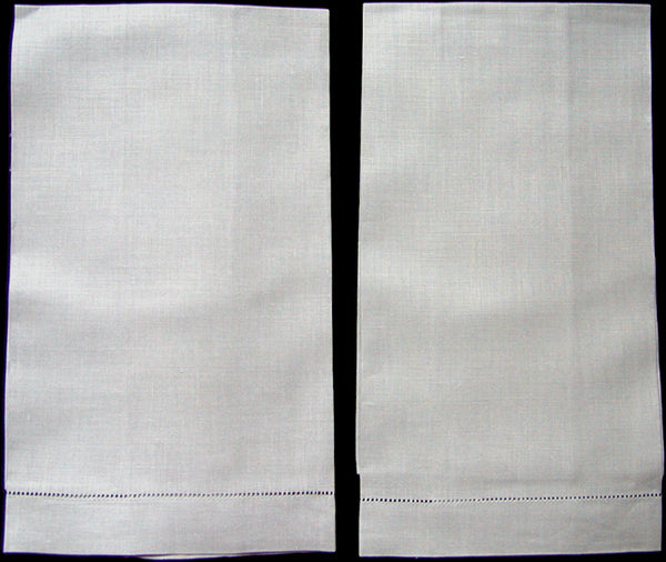 Fine Gray Vintage Irish Linen Guest Towels, Pair