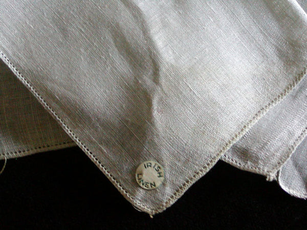 Gray Irish Linen Hemstitched Vintage Handkerchief New Old Stock