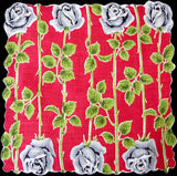 Gray Long Stemmed Roses on Red Vintage Handkerchief