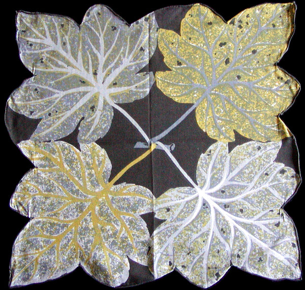 Gray & Yellow Leaves Vintage Handkerchief, Hand Rolled