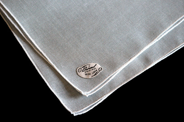 Burmel Gray Hand Rolled Vintage Irish Linen Handkerchief