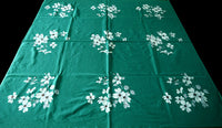 Dogwood on Green Vintage Wilendur Tablecloth 48x53