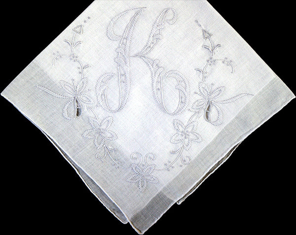 Monogram K Vintage Handkerchief Gray Madeira Shadow Embroidery