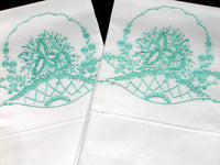Orchid in Flower Basket Pair of Embroidered Vintage Pillowcases