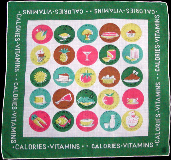 Green Calories and Vitamins Vintage Carol Stanley Handkerchief