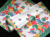 Blue Green and Orange Clover Vintage Cotton Kitchen Tea Towel