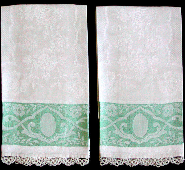 Green & White Vintage Damask Linen Towels, Pair