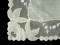 Pastel Green White Lace Applique Vintage Wedding Handkerchief