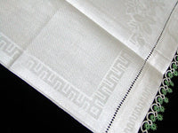Damask Roses Irish Linen Vintage Guest Towel Green Tatting