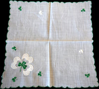 Green & White Shamrocks St Patrick's Day Vintage Handkerchief