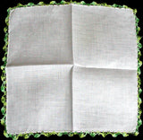Green Crochet Lace White Irish Linen Vintage Handkerchief