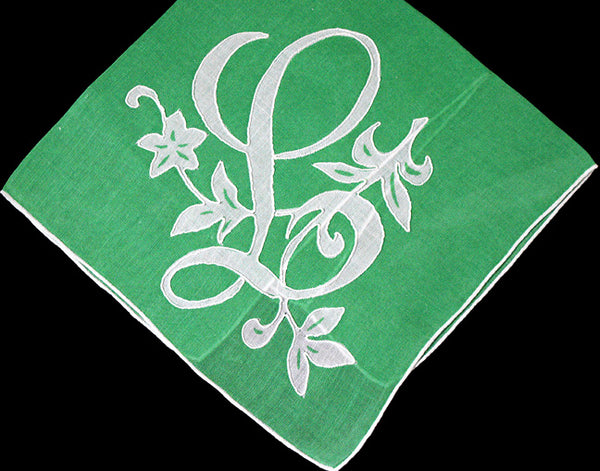 Monogram L Vintage Handkerchief, White and Green