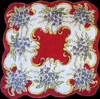 Flowers and Scrolls on Red Vintage Handkerchief
