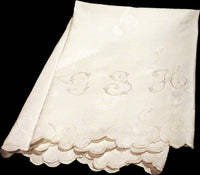 Oversize Antique Damask Linen Towel, GSH Monogram