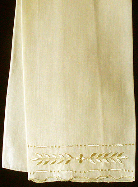 Madeira Hand Embroidered Vintage Linen Guest Towel, Yellow
