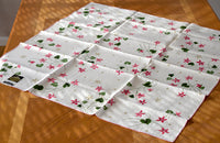 Hardy Craft Spring Floral Vintage Linen Tablecloth, Bridge Size